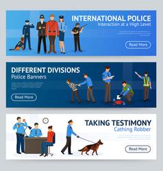 International police service flat banners set vector