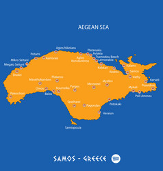 Island of samos in greece orange map and blue vector