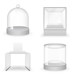 isolated glass box 3d realistic shop icons set vector image