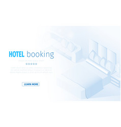 isometric modern hotel room bedroom interior vector image