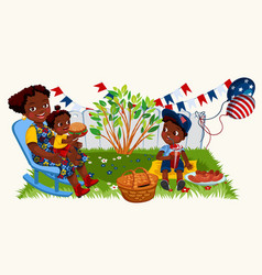 Latino american mother with kids enjoying picnic vector