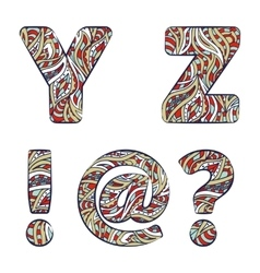 Letters y z exclamation mark question mark vector