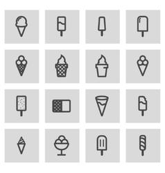 line ice cream icons set vector image