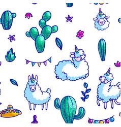 llamas characters seamless pattern vector image