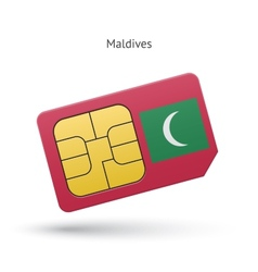 Maldives mobile phone sim card with flag vector