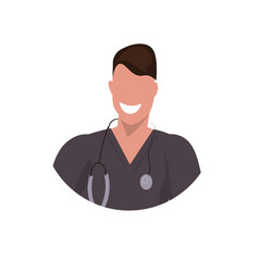 male doctor with stethoscope face avatar man vector image