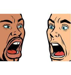 Man scream face african and caucasian people vector