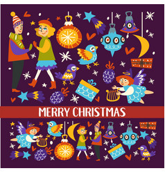 merry christmas couple man and woman dancing vector image