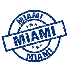Miami blue round grunge stamp vector
