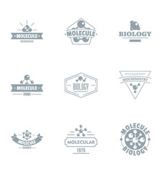 Molecular biology logo set simple style vector