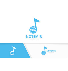 note and planet logo combination music and vector image
