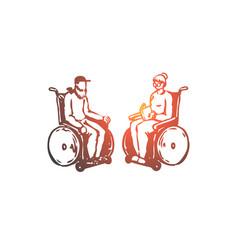 old senior wheelchair nursing age concept vector image