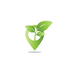 pin map leaf sprout agriculture logo design vector image