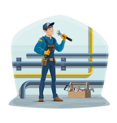 Plumber worker water pipes plumbing service vector