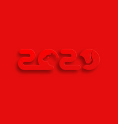 red logo year rat 2020 happy chinese new year vector image