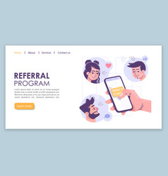 Referral program landing page template social vector