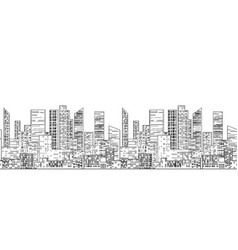 seamless border with outline of urban skyscrapers vector image