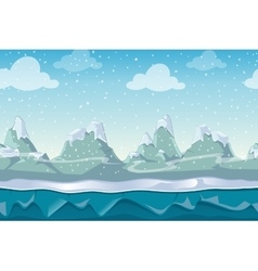 Seamless cartoon winter landscape for vector