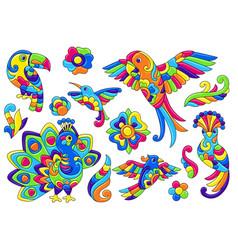 Set decorative tropical birds mexican ceramic vector