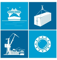 Set maritime icons vector