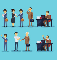 set of businesspeople and successful entrepreneurs vector image