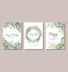 Set of card with beautiful twigs with leaves vector