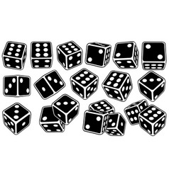 Set of different black dice vector