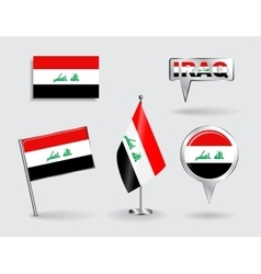 Set of Iraqi pin icon and map pointer flags vector image