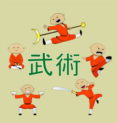 Shaolin monk with staff vector