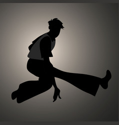 Silhouette of guy wearing wide trousers dancing vector
