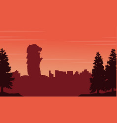 Silhouette of singapore city scenery vector
