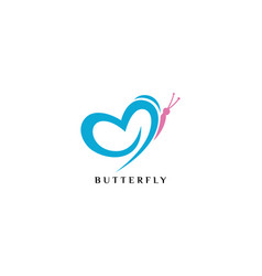 simple beauty butterfly logo design vector image