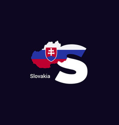 Slovakia initial letter country with map and flag vector