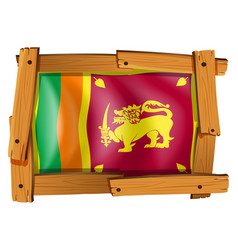 Sri lanka flag in wooden frame vector