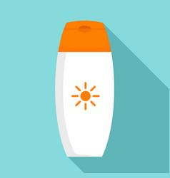 Sunscreen bottle cream icon flat style vector