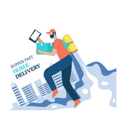 Super fast home delivery man concept vector