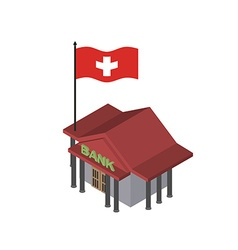 Swiss Bank Reliable Bank with flag of Switzerland vector