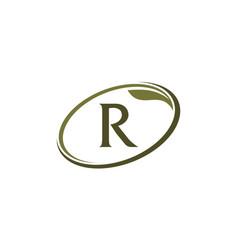 Swoosh leaf letter r vector
