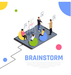 Teamwork collaboration isometric composition vector