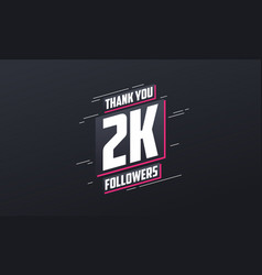 Thank you 2k followers greeting card template vector