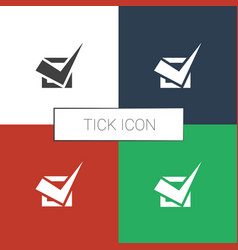 Tick icon white background vector