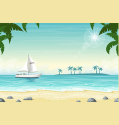 Tropical beach landscape with boat vector