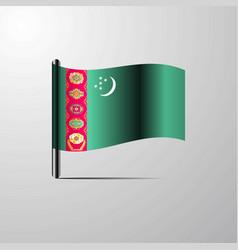 Turkmenistan waving shiny flag design vector