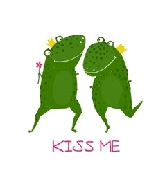 Two Frogs Prince and Princess in Love Kissing vector