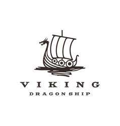Vintage hipster viking ship logo design vector