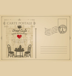 Vintage postcard with french street cafe vector