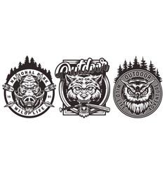 Vintage wildlife monochrome logos vector