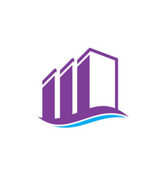 wave buildings real estate logo image vector image