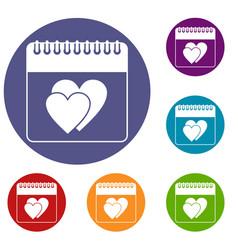 Wedding date day on calendar icons set vector
