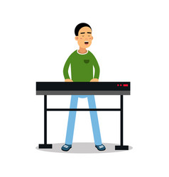young keyboardist playing on synthesizer and vector image